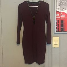 Zipper front stretchy dress burgundy Control your zipper for exposure great breathable material that stretches xs but can fit a small Dynamite Dresses