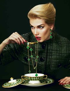 Wool/silk jacket, £1,940, by Louis Vuitton. Gold limited-edition Magic Alhambra malachite necklace, £18,900, and matching earclips, £6,700, both by Van Cleef & Arpels. Porcelain soup cup with lid and saucer, £560, and dessert plate, £170, all from the Lord of the Isles collection by Thomas Goode. Gold Maddox spoon, part of a five-piece set, £500, by Ralph Lauren Home.Louis Vuitton, 17-20 New Bond Street, London W1 (020-7399 4050; www.louisvuitton.com). Ralph Lauren, 1 New Bond Street, London…