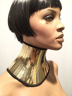 Gold cleopatra neck corset armor necklace gothic choker in chrome slave collar victorian edwardian steampunk cyber goth Posture Collar, Slave Collar, Gothic Chokers, Cybergoth, Cleopatra, Metals, Corset, Steampunk, Victorian
