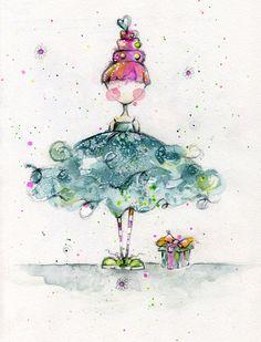 Fancy Girl © Lisa Lavoie  Tutu, cake, heart, sneakers, striped socks, gift, girl, watercolor