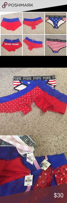 3 pairs America panty bundle Perfect for 4th of July. Bundles available! (Box) PINK Victoria's Secret Intimates & Sleepwear Panties