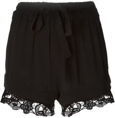 $273, Black Lace Shorts: Layered Lace Shorts by IRO. Sold by farfetch.com. Click for more info: http://lookastic.com/women/shop_items/136562/redirect