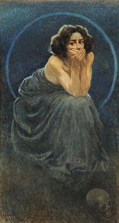 Giorgio Kienerk, L'enigma umano: Il Silenzio [triptych detail] (1900)