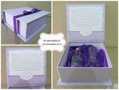 Kit Mini Absolut para presentear padrinhos <3 A caixa é personalizada! Arte e Cia Design <3 Orçaemnto grátis aqui ➼ http://www.casareumbarato.com.br/guia/arte-cia-design/