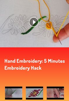 Hand Embroidery: 5 Minutes Embroidery Hack… Border Embroidery, Flower Embroidery, Hand Embroidery, Brazilian Embroidery, Satin Stitch, Rococo, 5 Minute Crafts, Knots, Stitching
