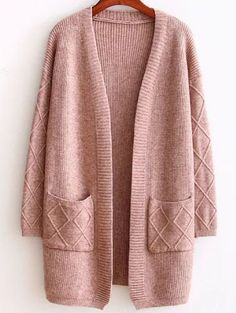 To find out about the Brown Diamond Pattern Ribbed Longline Sweater Coat at SHEIN, part of our latest Sweaters ready to shop online today! Long Sweaters For Women, Cardigans For Women, Knit Jacket, Knit Cardigan, Pull Long, Long Sweater Coat, Knitted Coat, Mode Style, Pulls
