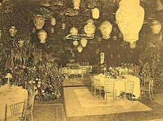 The places are set for Mrs. Alva Vanderbilt Belmont's Chinese Ball (c. 1914) at Marble House, Newport, RI. Event marked the inauguration of her Chinese Tea House.
