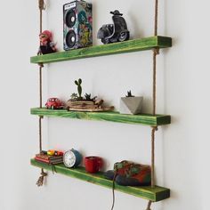 Massive Handmade Green Shelves with Rope Green Shelves, Wood Shelves, Custom Jewelry Design, Custom Design, All Wall, Natural Wood, Home Accessories, House Design, Handmade