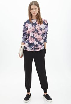 Rose Print Sweatshirt - Clothing - Sweatshirts & Knits - 2000056609 - Forever 21 UK