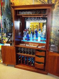 Custom Made Dry Bar From A Repurposed Entertainment Cabinet