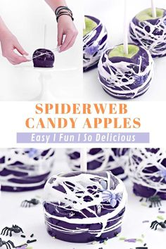 Spiderweb Candy Apples are the best dessert for Halloween get togethers and parties. So tasty and easy to make too! Happy Halloween, Halloween Desserts, Halloween Cakes, Fall Desserts, Delicious Desserts, Apple Dessert Recipes, Apple Crisp Recipes, Homemade Desserts, Cinnamon Toast Crunch