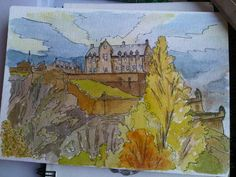 Edinburgh Castle watercolour by Edinburgh Sketcher Edinburgh Castle, Sketchers, Passport, Watercolour, Scotland, Places To Visit, Around The Worlds, Spaces, Let It Be