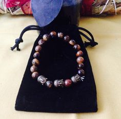 Buddha  Tiger Eye Amulet Bracelet Yoga by TriquetraBoutique