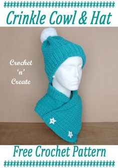 Free adult crochet crinkle cowl-beanie set on crochetncreate, crochet for yourself or for gifts. #crochetlove #freecrochetpattern #ilovecrochet #crochethatandscarf #crochetcowl #crochetbeanie #crafts #crochet Crochet Adult Hat, Crochet Beanie, Crochet Fall, All Free Crochet, Basic Crochet Stitches, Crochet Patterns, Hat Patterns, Pattern Ideas, Crochet Bookmarks