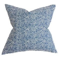 "Adorned with a herringbone motif, this chic cotton pillow brings a pop of pattern to your sofa or favorite arm chair.    Product: PillowConstruction Material: Cotton and rayon cover and feather-down fillColor: Blue and whiteFeatures:  Insert includedHidden zipperKnife edge finishMade in the USA Reversible Dimensions: 18"" x 18"""