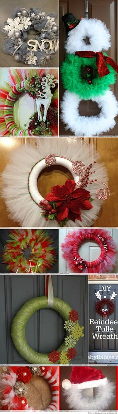 Discover thousands of images about Tulle Christmas Wreath Tulle Crafts, Wreath Crafts, Diy Wreath, Christmas Projects, Holiday Crafts, Christmas Holidays, Christmas Ornaments, Tulle Wreath, Wreath Making