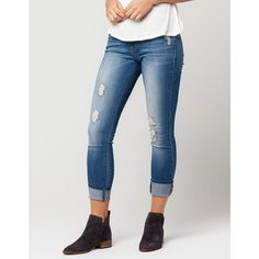 Flying Monkey Destructed Cuff Womens Skinny Jeans ($70) ❤ liked on Polyvore featuring jeans, ripped jeans, destructed jeans, distressed jeans, skinny jeans and destroyed denim skinny jeans