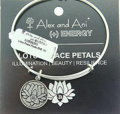 Alex And Ani Lotus Peace Petals Russian Silver Expandable Bracelet Energyv Charms