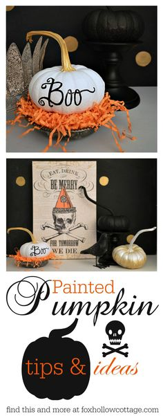 Painted Pumpkins Halloween Craft, get the how-to and tips to create your own decorations at foxhollowcottage.com