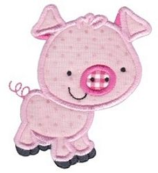 My Pet Pig Applique 2 Sizes | Farm Applique Machine Embroidery Designs | Machine Embroidery Designs | SWAKembroidery.com