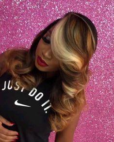 Goegeous hair and makeup. goegeous hair and makeup black girls hairstyles, dope hairstyles, weave hairstyles, grey blonde Thin Hair Haircuts, Dope Hairstyles, Pinterest Hairstyles, Everyday Hairstyles, Love Hair, Gorgeous Hair, Beautiful, Curly Hair Styles, Natural Hair Styles