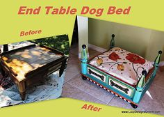 Doggie bed from yard-sale end table - brilliant!