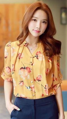 StyleOnme_Floral Print Roll-up Sleeve Chiffon Blouse #flower #summer #trend #look #koreanfashion #orange #yellow #cute #pretty #dailylook