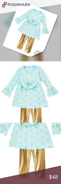 "Baby Blue Set Mint and Gold Dots Dress and Gold Leggings. Shining foil playful Dot pattern with matching leggings. Charming cuteness of soft 100 % cotton comfort!! Company size chart for size 5: hips 23"", Chest 24"", waist 21.5"", height 40-42"", weight 36-44 lbs. Matching Sets"