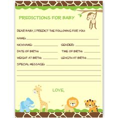 have guests make at your boy baby shower with this jungle safari themed card featuring