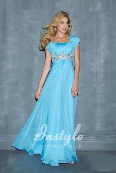 Sky Blue Cap Sleeve Chiffon Prom Dress with Scoop Neck