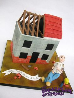 Bricklayer Cake - Partially Contructed House  brick, layer, builder, construction, site, roof, wood, figure