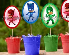 Masks Oval Shaped Centerpieces DIGITAL FILE (you print at home, you put it together). Each centerpiece measures tall by wide when Superhero Birthday Party, 6th Birthday Parties, Third Birthday, Birthday Bash, Birthday Ideas, Pjmask Party, Party Time, Party Ideas, Festa Pj Masks