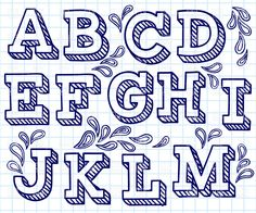 Hand drawn font - shaded letters and decorations, 29198, download royalty-free vector clipart (EPS)