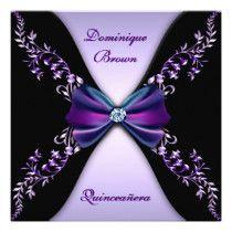 Elegant Purple Black Diamond Bow Quinceanera Invite