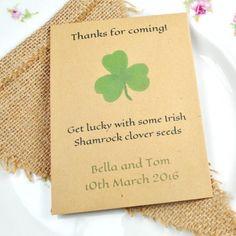 Shamrock seed packet wedding favour