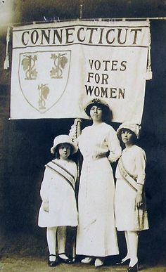 Connecticut suffragette and her daughters at the New Haven suffrage demonstrations (1916)