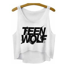 Ladies Teen Wolf Crop Top Girls Tank Crop Shirt ($19) ❤ liked on Polyvore featuring tops, black, crop tops, women's clothing, summer shirts, black crop top, black tank, print shirts and oversized shirt