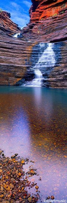 """Joffrey Gorge, Karijini National Park, Australia by Christian Fletcher. """"In Joffre Gorge, one can truly appreciate the power of water shaping the landscape. The gorge hosts impressive waterfalls, deep pools and breath-taking views. Places To Travel, Places To See, Travel Destinations, Places Around The World, Around The Worlds, Beautiful World, Beautiful Places, Amazing Places, Parcs"""