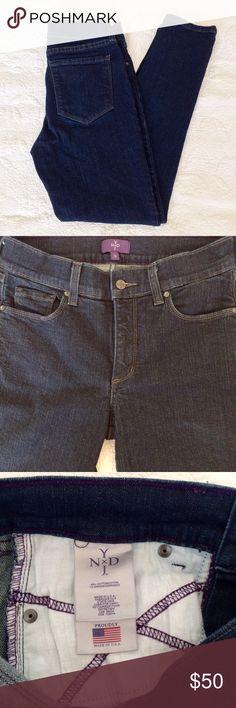 NYDJ Skinny Ankle Dark Denim Jeans NYDJ Skinny Ankle Denim Jeans. Slim silhouette. Lift Tuck Technology. 99% Cotton. 1% Spandex. Inseam 27in. NYDJ Jeans Skinny