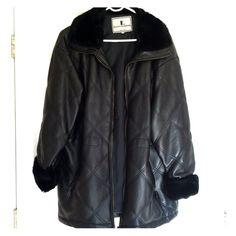 Women's black foux leather &foux fur heavy jacket black fur coat on wrists and collar two zipper pockets on side Jackets & Coats