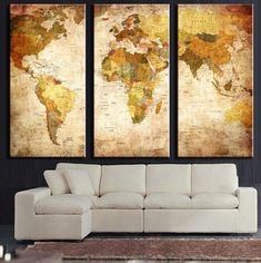 Tan World Map Panel Painting