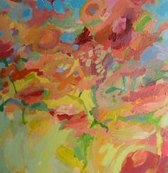 Original acrylic painting of flowers - abstract, colourful, cheerful artwork £65.00