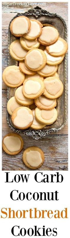 A low carb and entirely sugar free take on classic shortbread biscuits. Low Carb Coconut Shortbread Cookies are light, buttery and crumbly with a deliciously rich coconut butter glaze. Perfect for diabetics, gluten free and ketogenic diets.