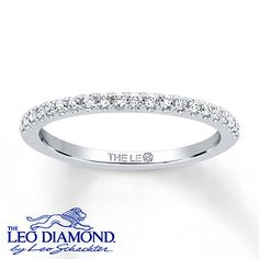 Leo Wedding Band 1/5 ct tw Diamonds 14K White Gold perfect to match my Leo engagement ring