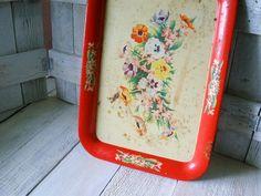 Vintage metal tray floral by AVelvetLeaf on Etsy, $10.00