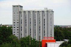 Grünerløkka Studenthus, converted grain elevator, Oslo, Norway, silo