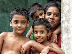 Familie in Puducherry, India