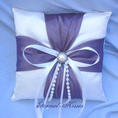 Purple Pearl Ring Bearer Pillow