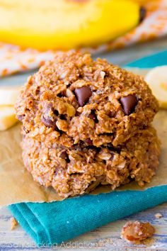 An easy recipe for healthy banana chocolate chip breakfast cookies.