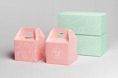 Packaging designed by Studio FNT for South Korean dessert restaurant Milk Lab